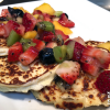 Mini Ricotta Cheese Pancakes with a Tropical Fruit and Berry Medley