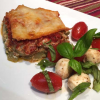 Chicken Pesto Ricotta Bake with Caprese Salad
