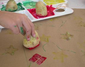 Potato Stamp - Handmade Gift Wrap