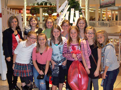 Tara and Her Friends in Front of the Angel Tree at Collin Creek Mall