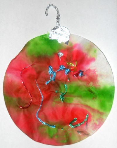 Tie Dye Red and Green Ornament