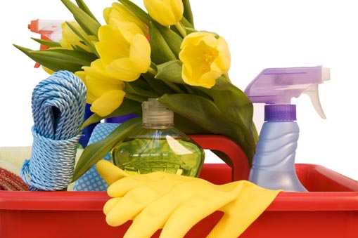 Spring Cleaning Items in Basket with Spring Flowers