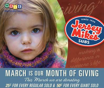 Wipe Out Kids' Cancer and Jersey Mike's Subs