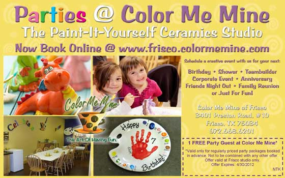 Color Me Mine Birthday Parties