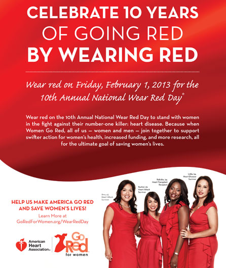 National Wear Red Day - Friday, Feb 1, 2013