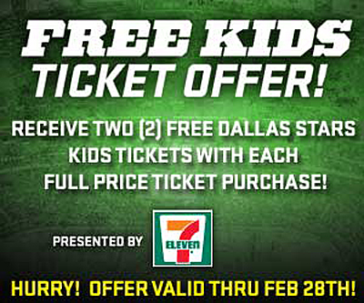 Dallas Stars - Free Kids Tickets in February