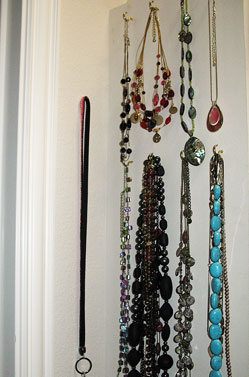 organize jewelry - store jewelry with c hooks