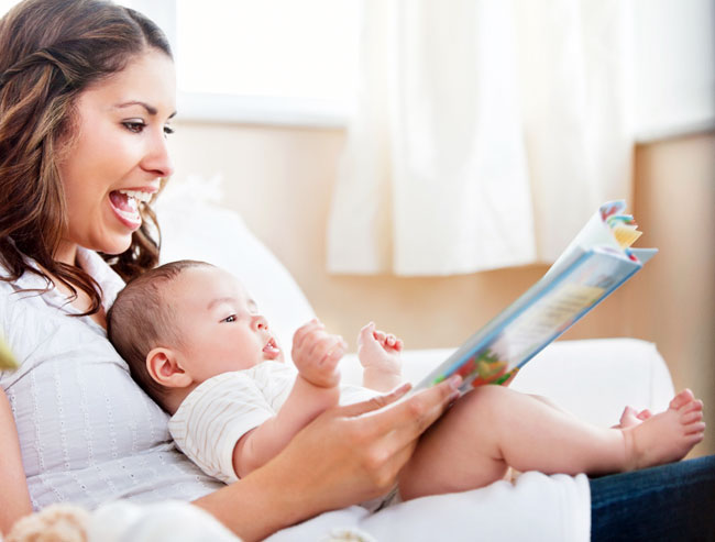 Mom reading to baby - teach your child to read