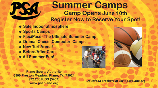 PSA Plano - Summer Camps - Plano Sports Authority - North Texas Kids Summer Camps Guide
