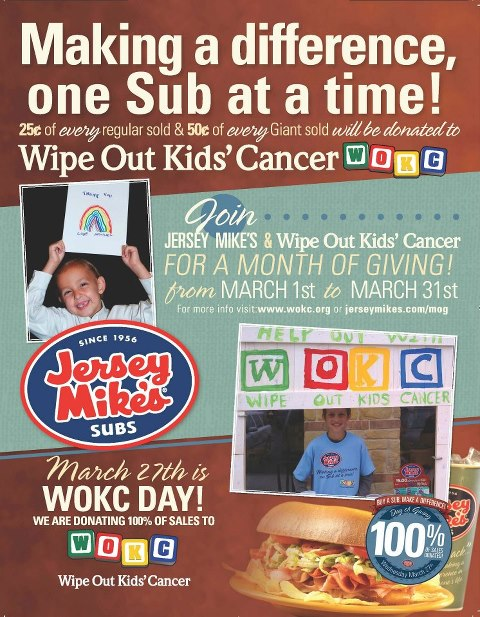 Jersey Mike's helps Wipe Out Kids Cancer By Donating Sales on March 27th