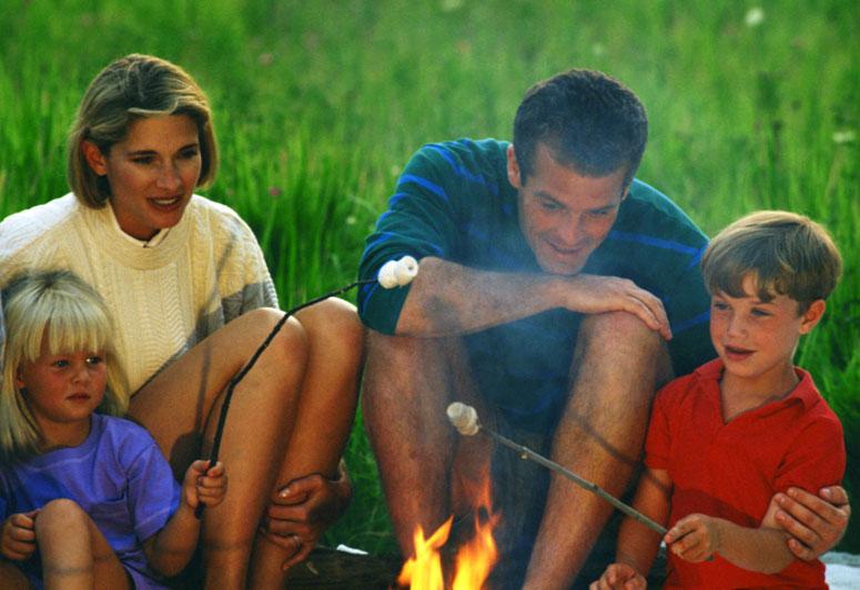 Family Roasting Marshmallows - ma