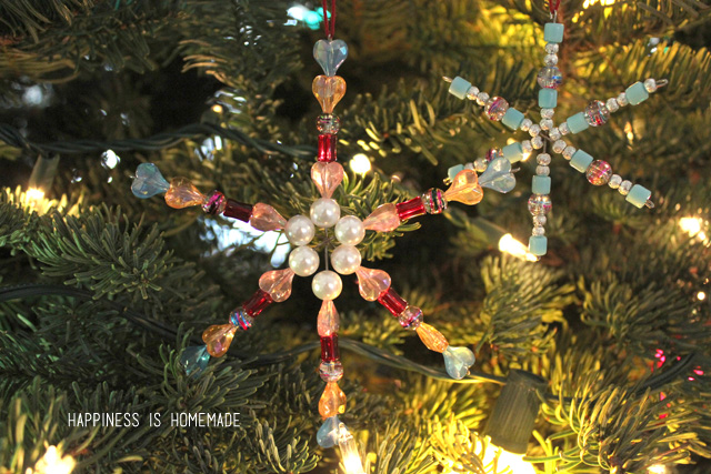 Christmas Crafts for Kids - Beaded Snowflake Ornaments