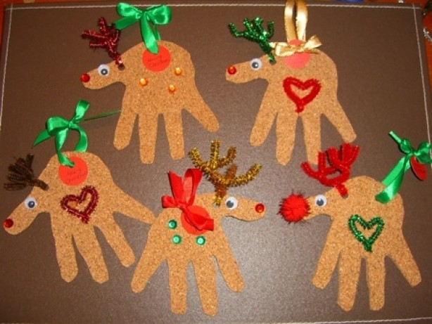 Christmas Crafts for Kids - Handprint Reindeer Ornaments