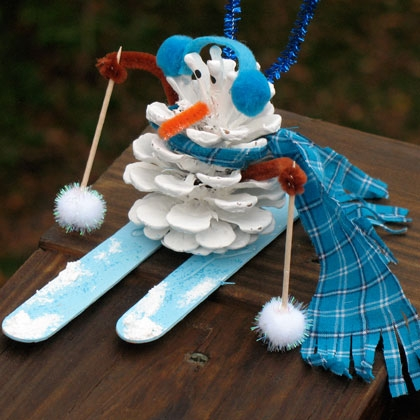 Christmas Crafts for Kids - Pinecone Snowman