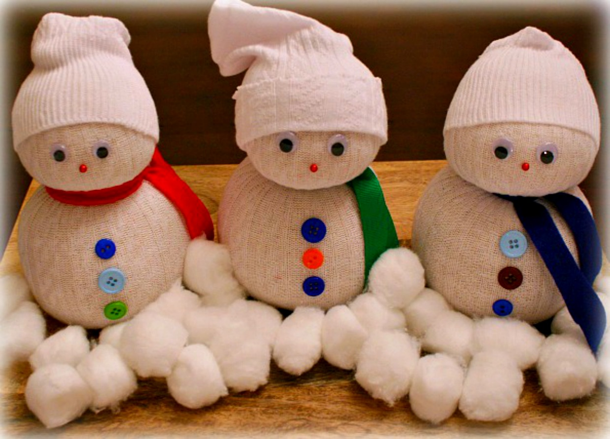 Christmas Crafts for Kids - Sock Snowman