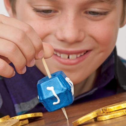 Hanukkah Crafts for Kids - Egg Carton Dreidel