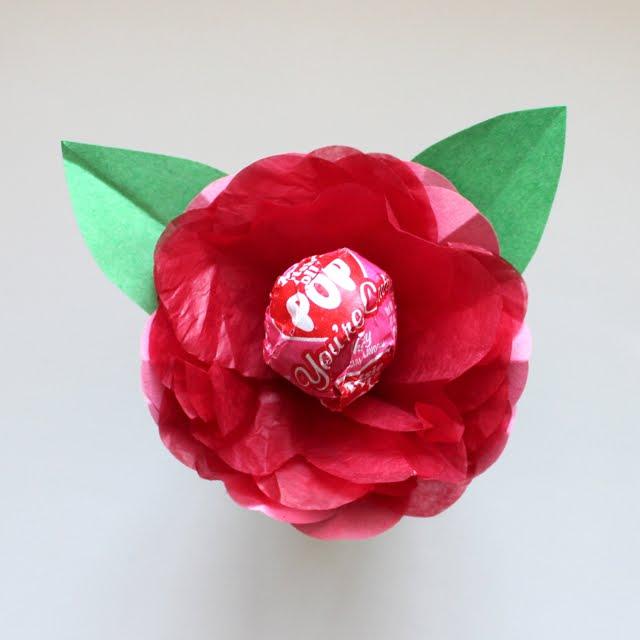 Tissue Paper Lollipop Flowers - Classroom Valentines