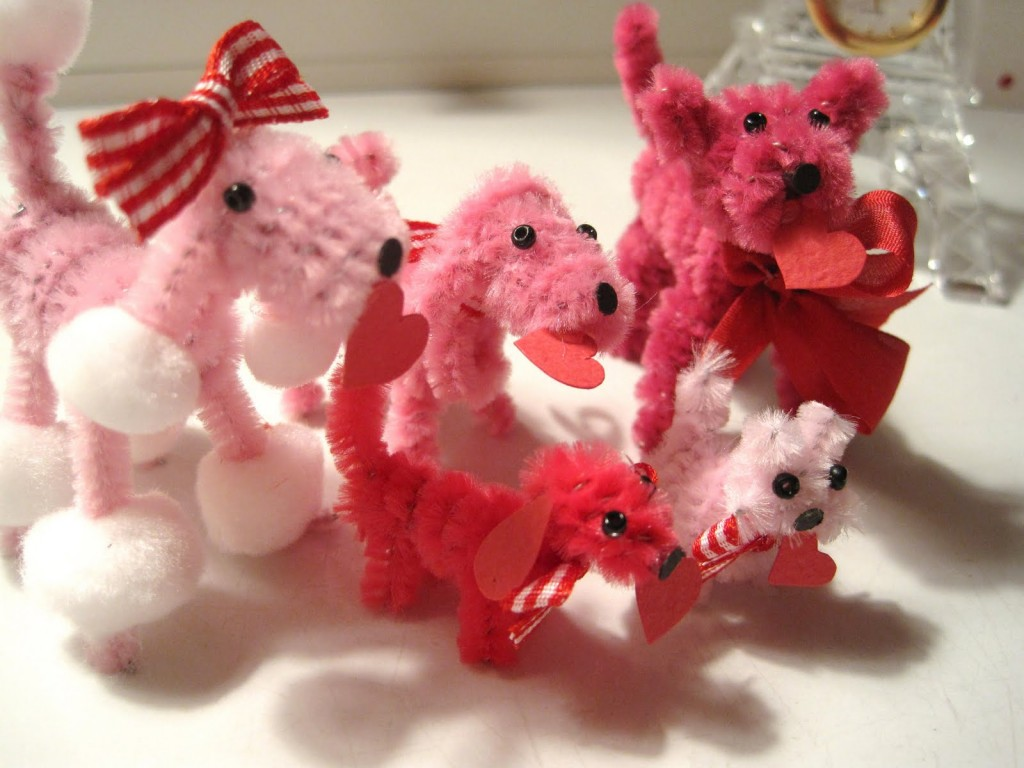 Valentine Chenille Poodles - Classroom Valentines