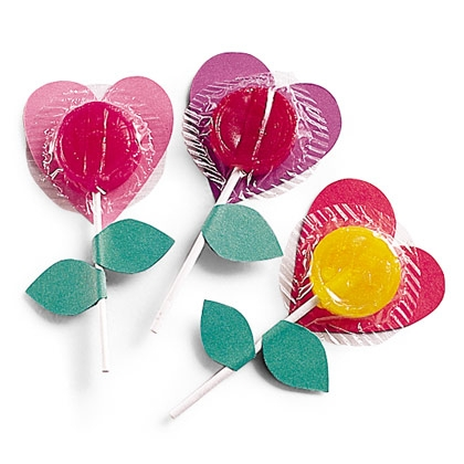 Lollipop Flower Hearts - Classroom Valentines