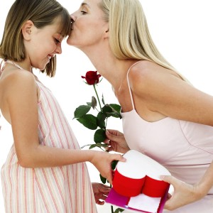 Daughter Giving Mom Gifts for Valentine's Day