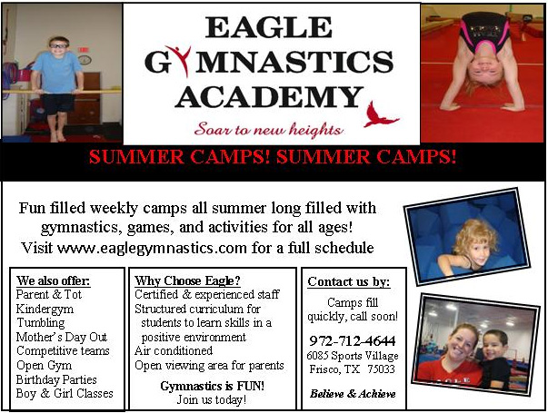 North Texas Kids 2104 Guide to DFW Summer Camps - Eagle Gymanstics Summer Camp