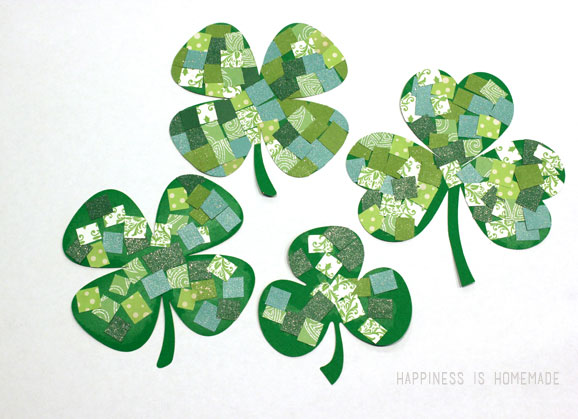 shamrock Crafts - St Patrick's Day Crafts - Mosaic Shamrocks