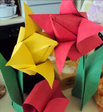 Origami Tulips - Easter Crafts - North Texas Kids Magazine - Kids Crafts