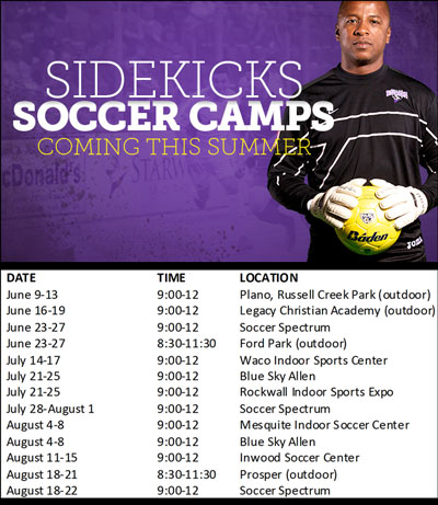 Dallas Sidekicks Summer Camp Schedule for 2014 - North Texas Kids Summer Camp Guide