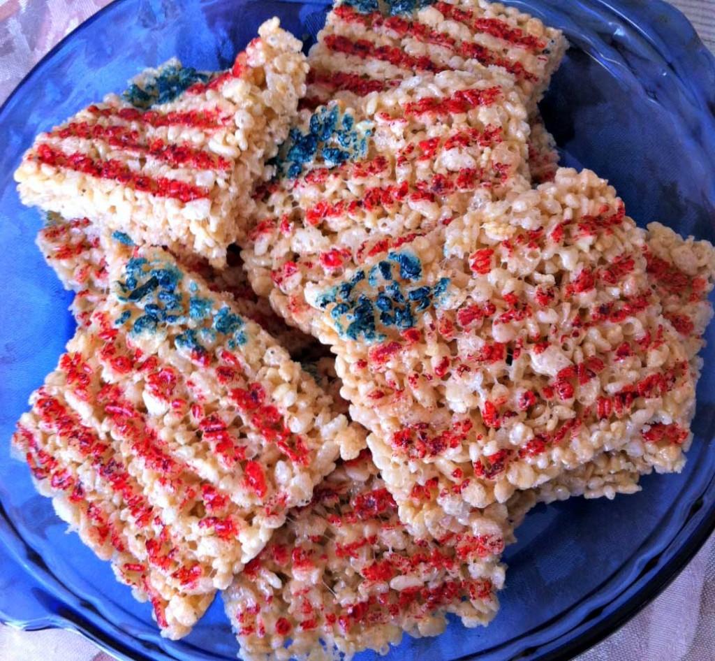 Kid Friendly Fourth of July Desserts & Treats - Rice Krispie Flags