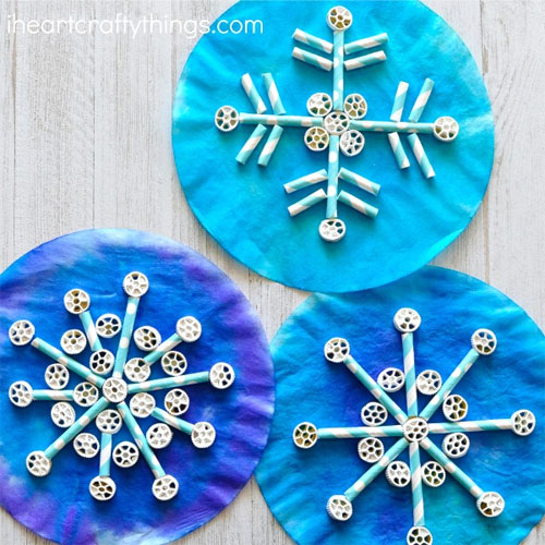 Winter Holiday Crafts - Coffee Filter Snowflake Craft