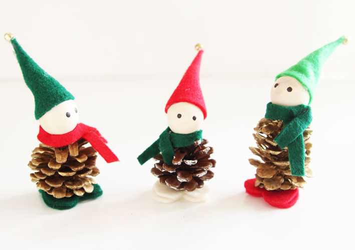 Winter Holiday Crafts - Pinecone Elves