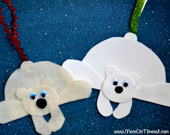 Winter Holiday Crafts - Polar Bear Ornaments