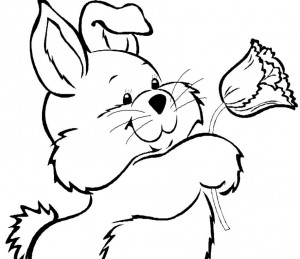 Easter bunny coloring page - bunny with tulip - north texas kids magazine