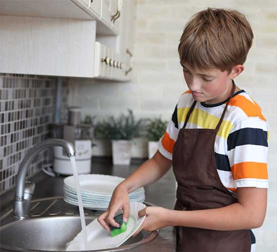 boy doing dishes - kids and chores