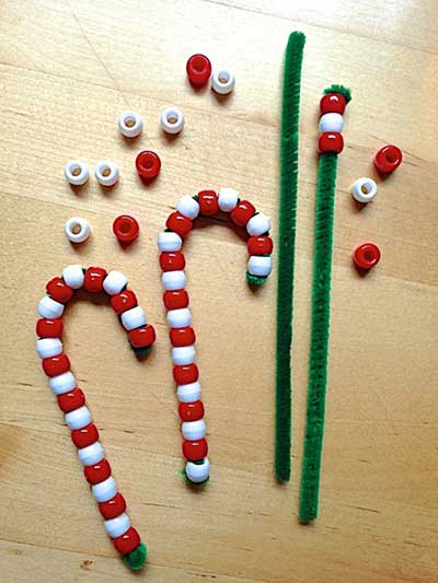 holiday crafts - beaded candy canes - north texas kids