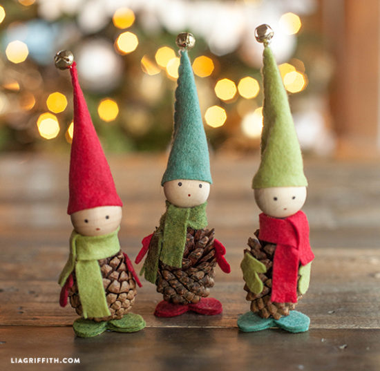 Pine Cone Elves - holiday crafts - North Texas Kids
