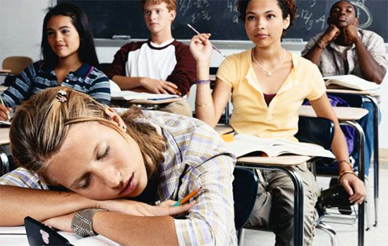 Teen Falling Asleep in Class - Getting Good Sleep - North Texas Kids
