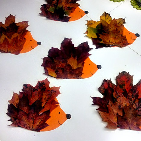 fall crafts for kids - fall leaves hedgehog